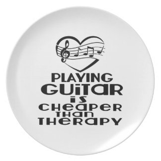 Playing Guitar Is Cheaper Than Therapy Dinner Plate