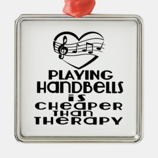 Playing Handbells Is Cheaper Than Therapy Silver-Colored Square Ornament