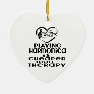 Playing Harmonica Is Cheaper Than Therapy Ceramic Ornament