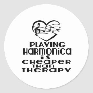Playing Harmonica Is Cheaper Than Therapy Classic Round Sticker