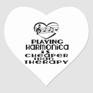 Playing Harmonica Is Cheaper Than Therapy Heart Sticker