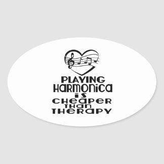 Playing Harmonica Is Cheaper Than Therapy Oval Sticker