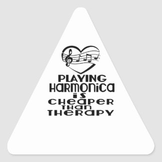Playing Harmonica Is Cheaper Than Therapy Triangle Sticker