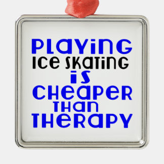 Playing Ice Skating Cheaper Than Therapy Silver-Colored Square Ornament