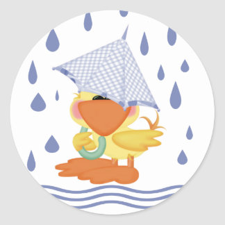 Playing In The Rain Round Sticker