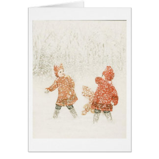 Playing in the Snow, Greeting Card