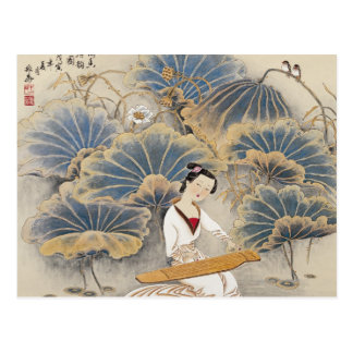Playing Music by Lotus Pond Postcard