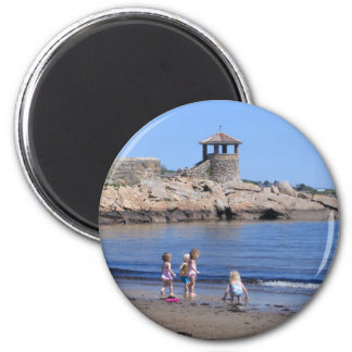 Playing On the Beach in Rockport, MA 2 Inch Round Magnet