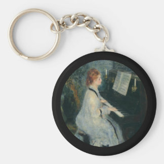 Playing Piano by Candlelight Basic Round Button Keychain