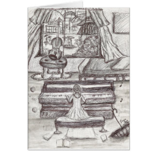Playing piano on a rainy day card