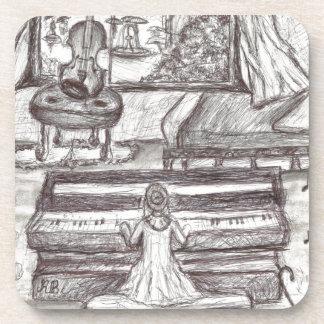 Playing piano on a rainy day coaster