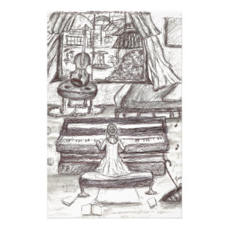Playing piano on a rainy day customized stationery