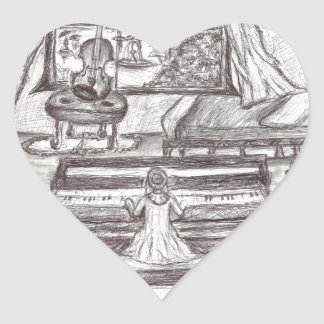 Playing piano on a rainy day heart sticker
