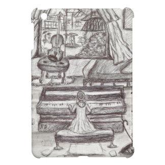 Playing piano on a rainy day iPad mini cover