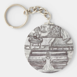 Playing piano on a rainy day keychain