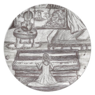 Playing piano on a rainy day plate