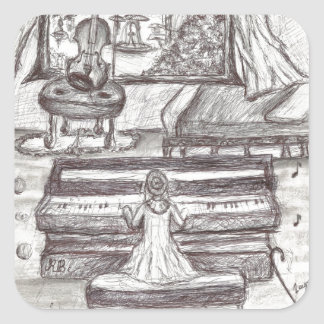 Playing piano on a rainy day square sticker