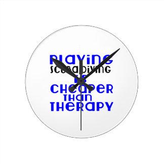 Playing Scuba Diving Cheaper Than Therapy Wallclocks