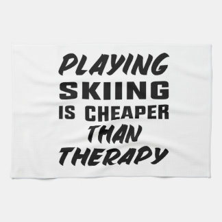 Playing Skiing is cheaper than therapy Kitchen Towel