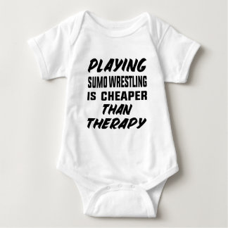 Playing Sumo Wrestling is cheaper than therapy Baby Bodysuit