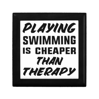 Playing Swimming is cheaper than therapy Gift Box