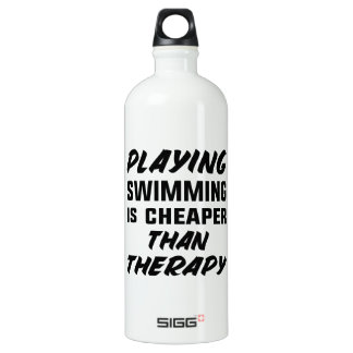 Playing Swimming is cheaper than therapy Water Bottle