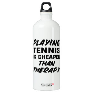 Playing Tennis is cheaper than therapy Water Bottle