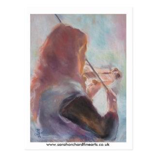 playing the violin... postcard
