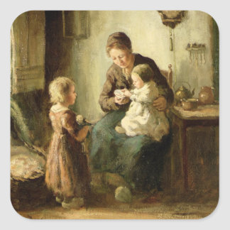 Playing with baby, 19th century square sticker