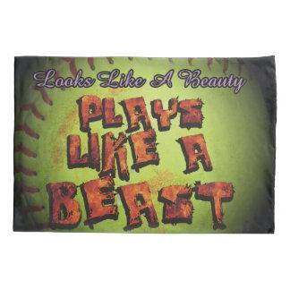 Plays Like A Beast Fastpitch Softball Pillowcase