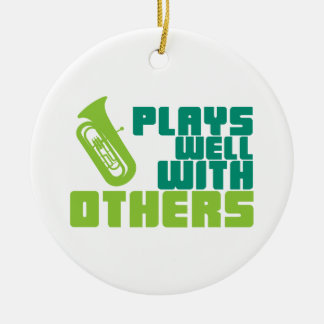 Plays Well with Others - Tuba Ceramic Ornament