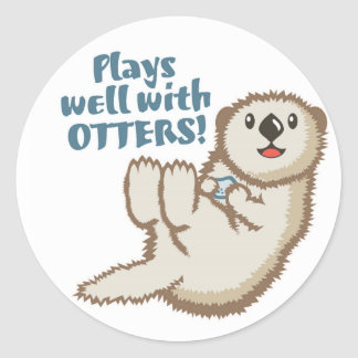 Plays Well With Otters Sticker
