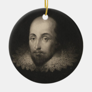 Playwright William Shakespeare by Cornelius Jansen Ceramic Ornament