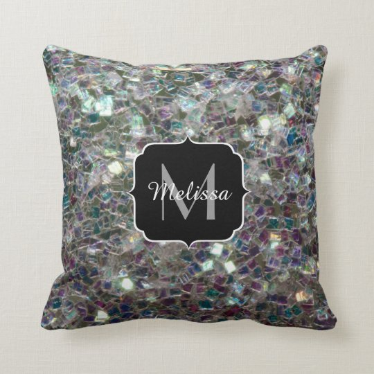 PLdesign's Sparkly colourful silver mosaic Throw Pillow
