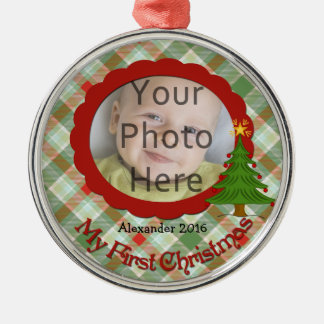 Pleasant Plaid Baby s First Christmas Ornament