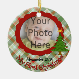 Pleasant Plaid Baby's First Christmas Ornament
