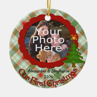 Pleasant Plaid Our First Christmas Ornament