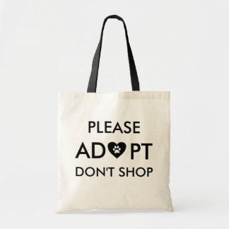 """Please Adopt Don't Shop"" Animal Tote Bag"