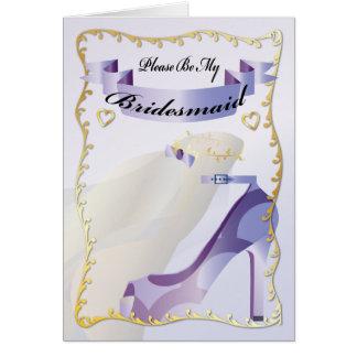 Please Be My Bridesmaid - Shoe & Wedding Vail Card