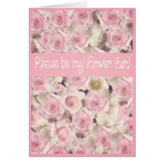 please be my flower girl pink roses wedding greeting card