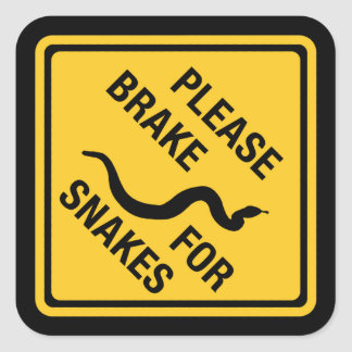 Please Brake For Snakes, Traffic Sign, Canada Square Sticker