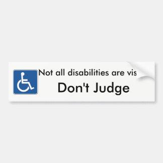 Please Don't Judge Handicap Bumper Sticker