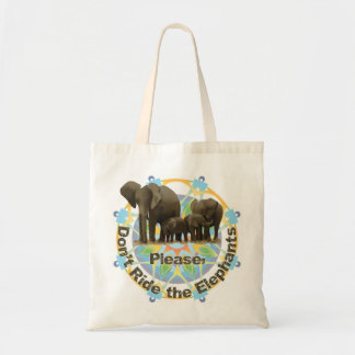 """""""Please don't ride the elephants"""" tote bag"""
