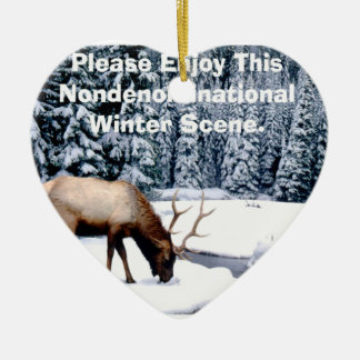 Please Enjoy This Nondenominational Winter Scene. Ceramic Heart Ornament