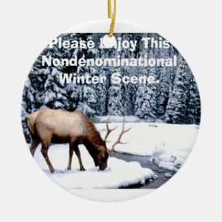 Please Enjoy This Nondenominational Winter Scene. Ceramic Ornament