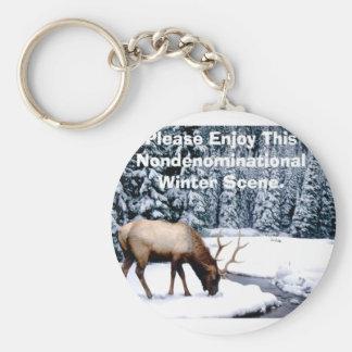 Please Enjoy This Nondenominational Winter Scene. Keychain