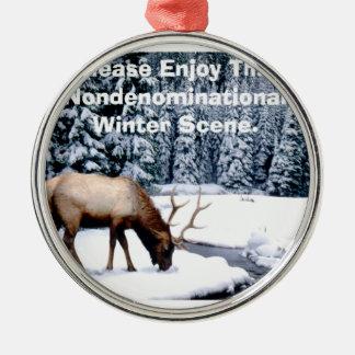 Please Enjoy This Nondenominational Winter Scene. Metal Ornament