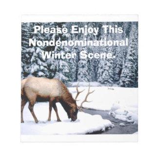 Please Enjoy This Nondenominational Winter Scene. Notepad