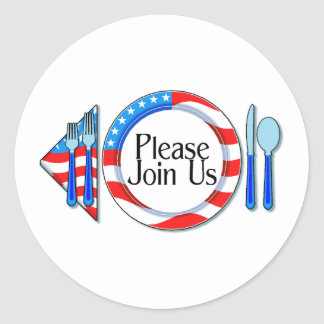 Please Join Us Red White Blue Design Classic Round Sticker