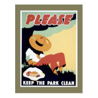 Please Keep the Park Clean Postcard